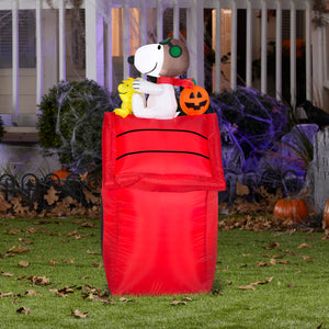 3.5' Airblown Snoopy as Flying Ace on Dog House Halloween Inflatable
