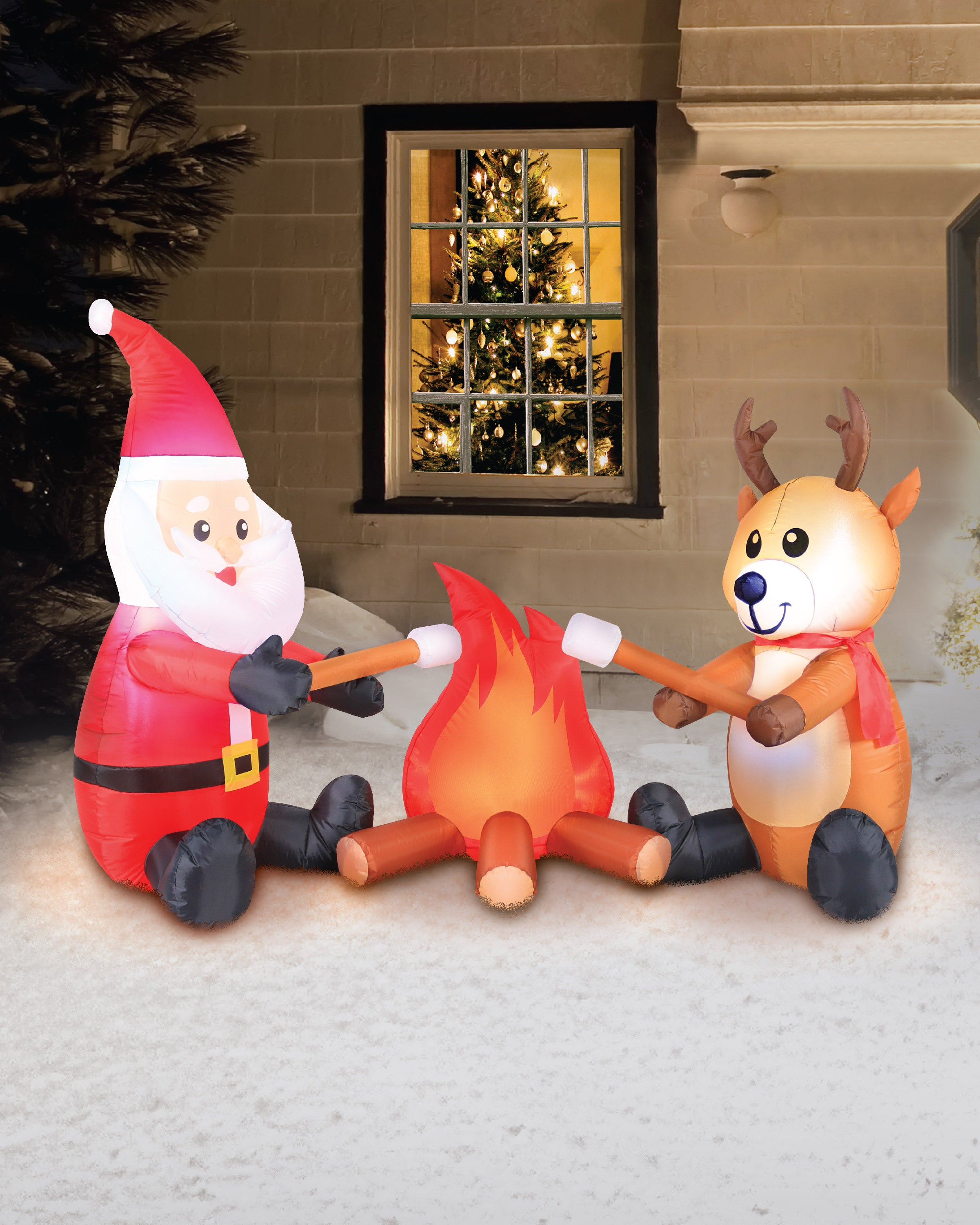 6' Inflatable Campfire Santa and Reindeer