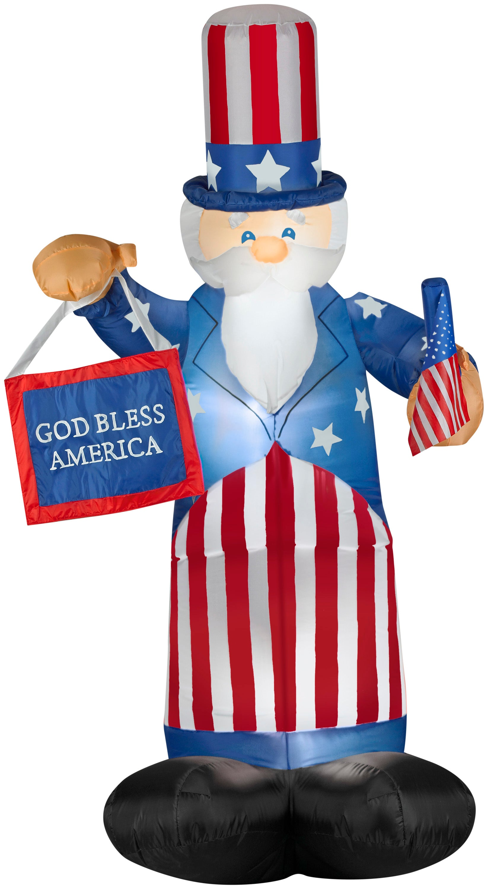 6' Airblown Uncle Sam w/Flag & Banner Spring Inflatable