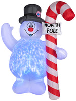 Load image into Gallery viewer, 5.5' Projection Airblown Kaleidoscope Frosty Hugging North Pole Sign