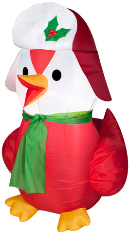 3.5' Red Bird Wearing Hat & Scarf Christmas Inflatable