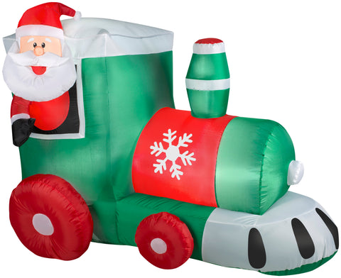 3' Airblown Santa in Train Scene Christmas Inflatable