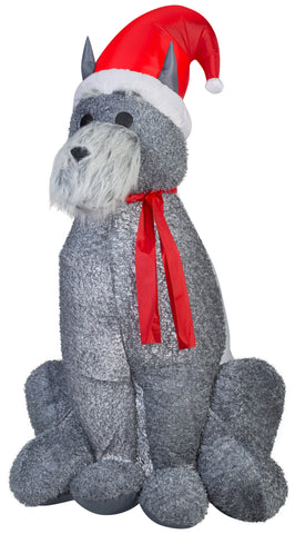 6' Airblown Mixed Media Schnauzer Dog Christmas Inflatable