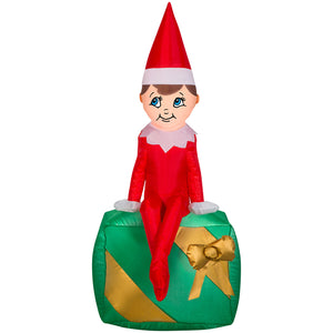 3.5' Airblown Elf on Present - Elf on the Shelf Christmas Inflatable