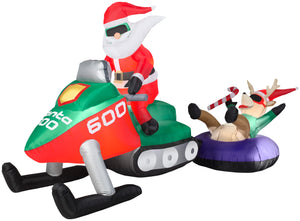 4.5' Airblown Santa Snowmobile Scene Christmas Inflatable