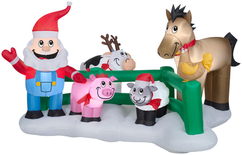 9' Wide Airblown Santa Farm Scene Christmas Inflatable