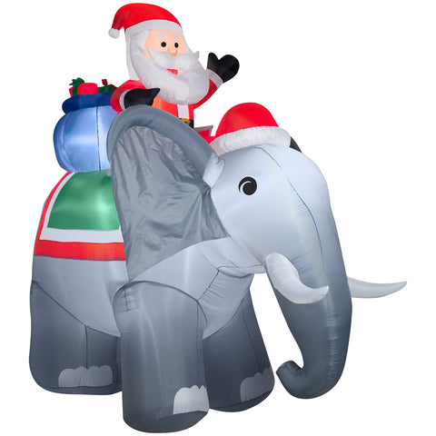 10.5' Airblown Santa on Elephant Scene Giant Christmas Inflatable