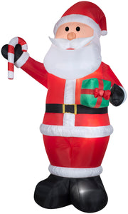 12' Airblown Santa w/ Gift and Candy Cane Christmas Inflatable
