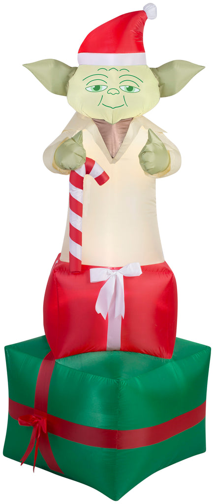 reputable site 0a1c8 409cc 6' Airblown Yoda on Presents Star Wars Christmas Inflatable