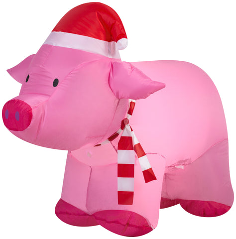 2.5' Airblown Pig Christmas Inflatable