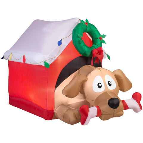 3.5' Animated Airblown Dog w/Candy Cane Bone Christmas Inflatable