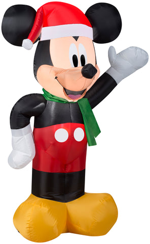 3.5' Airblown Mickey w/Santa Hat Disney Christmas Inflatable