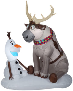 Gemmy 7' Airblown Inflatable Olaf and Sven w/LEDs Scene Disney