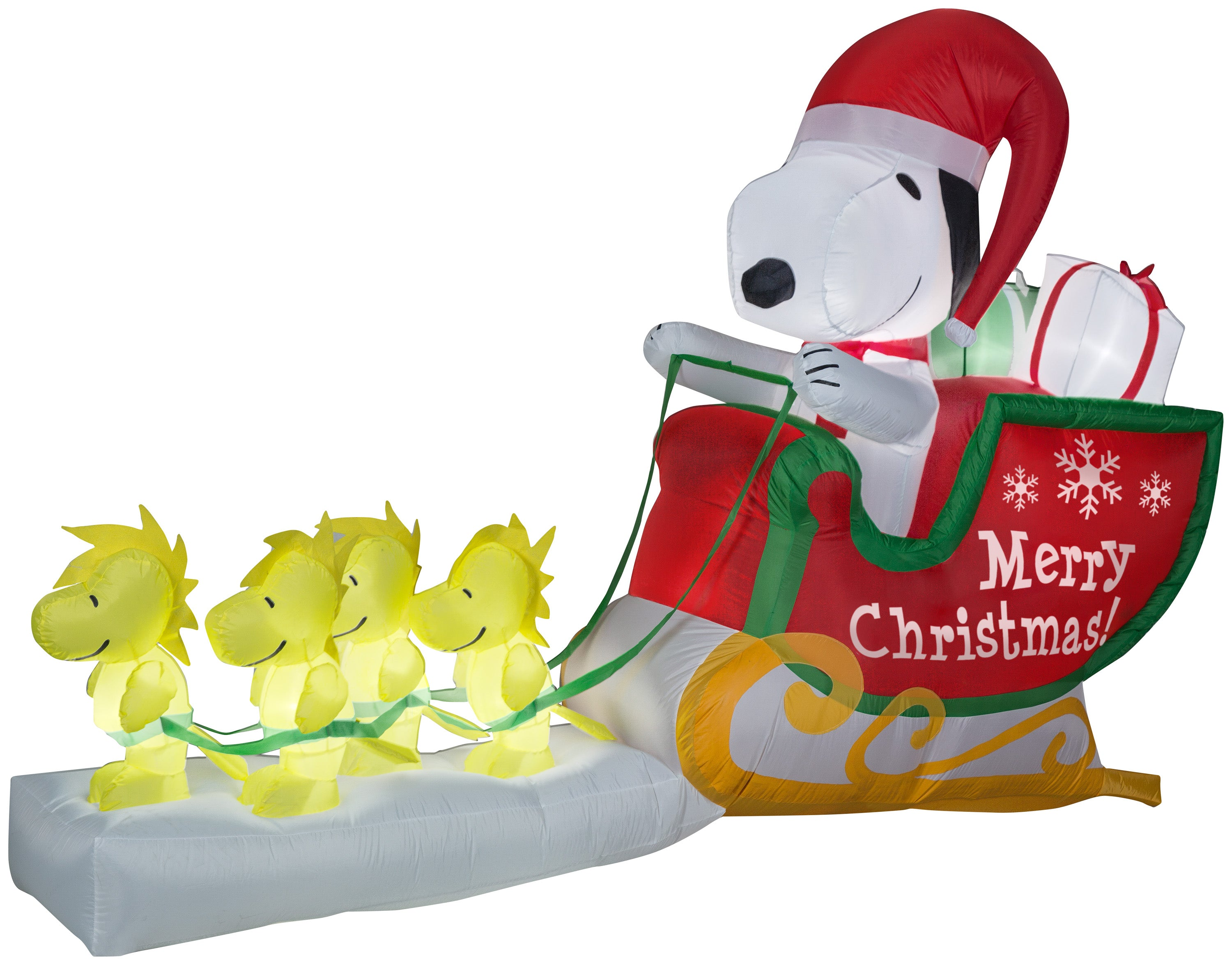 Gemmy 8' Airblown Inflatable Snoopy as Santa in Sleigh Scene