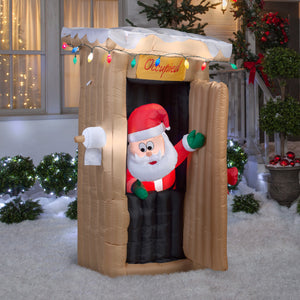 6' Animated Airblown Santa Coming out of the Outhouse Christmas Inflatable