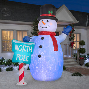 10' Projection Airblown Giant Kaleidoscope Snowman Christmas Inflatable