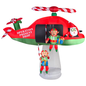 9.5' Wide Animated Airblown-Santa and Elves in Helicopter Scene Christmas Inflatable