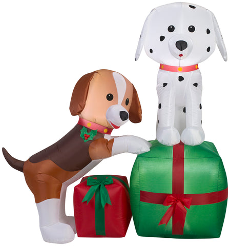 5' Airblown Puppies Gift Scene Christmas Inflatable
