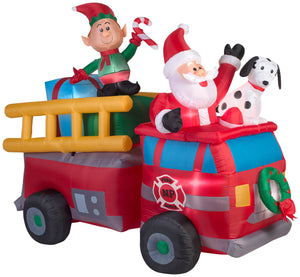 7' Wide Airblown Santa's Fire Truck Scene Christmas Inflatable