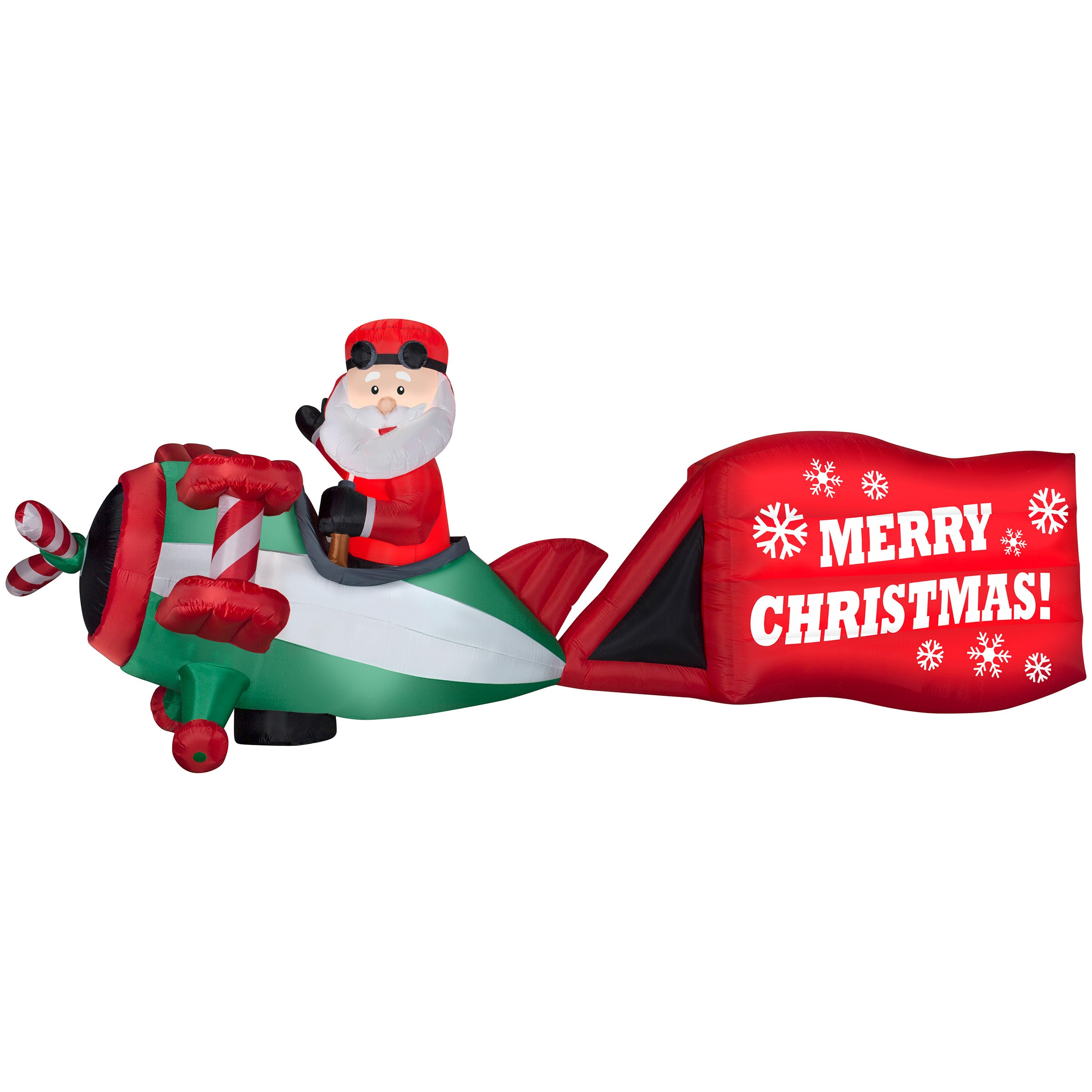 16' Wide Airblown Santa on Airplane Christmas Inflatable