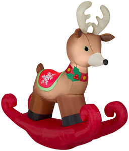 6' Wide Airblown Rocking Reindeer Christmas Inflatable