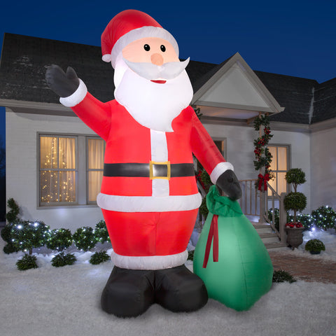 12' Giant Airblown Santa w/ Gift Sack Christmas Inflatable