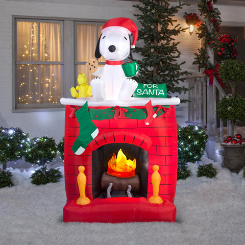 7' Projection Airblown Snoopy on Fireplace Scene Peanuts Christmas Inflatable