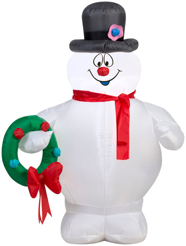 3.5' Airblown Frosty Holding Wreath - Christmas Inflatable