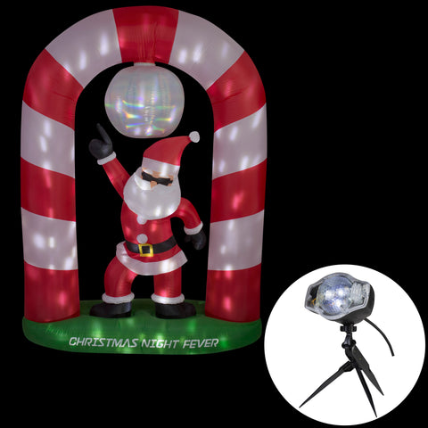 8' Animated Airblown Disco Santa Claus Christmas Inflatable