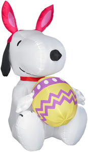 Gemmy Airblown Inflatable Snoopy with Bunny Ears and Decorated Egg, 3.5 ft Tall, white