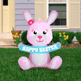 3.5' Airblown Outdoor Happy Easter Pink Bunny Spring Inflatable