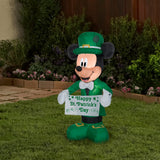 3.5' Airblown Disney St. Patrick's Day Mickey Mouse Spring Inflatable