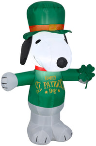Gemmy Airblown Inflatable St. Patrick's Day Snoopy, 3.5 ft Tall, white