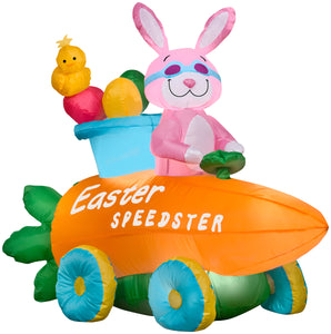 Gemmy Airblown Inflatable Easter Bunny Speedster, 3 ft Tall, pink