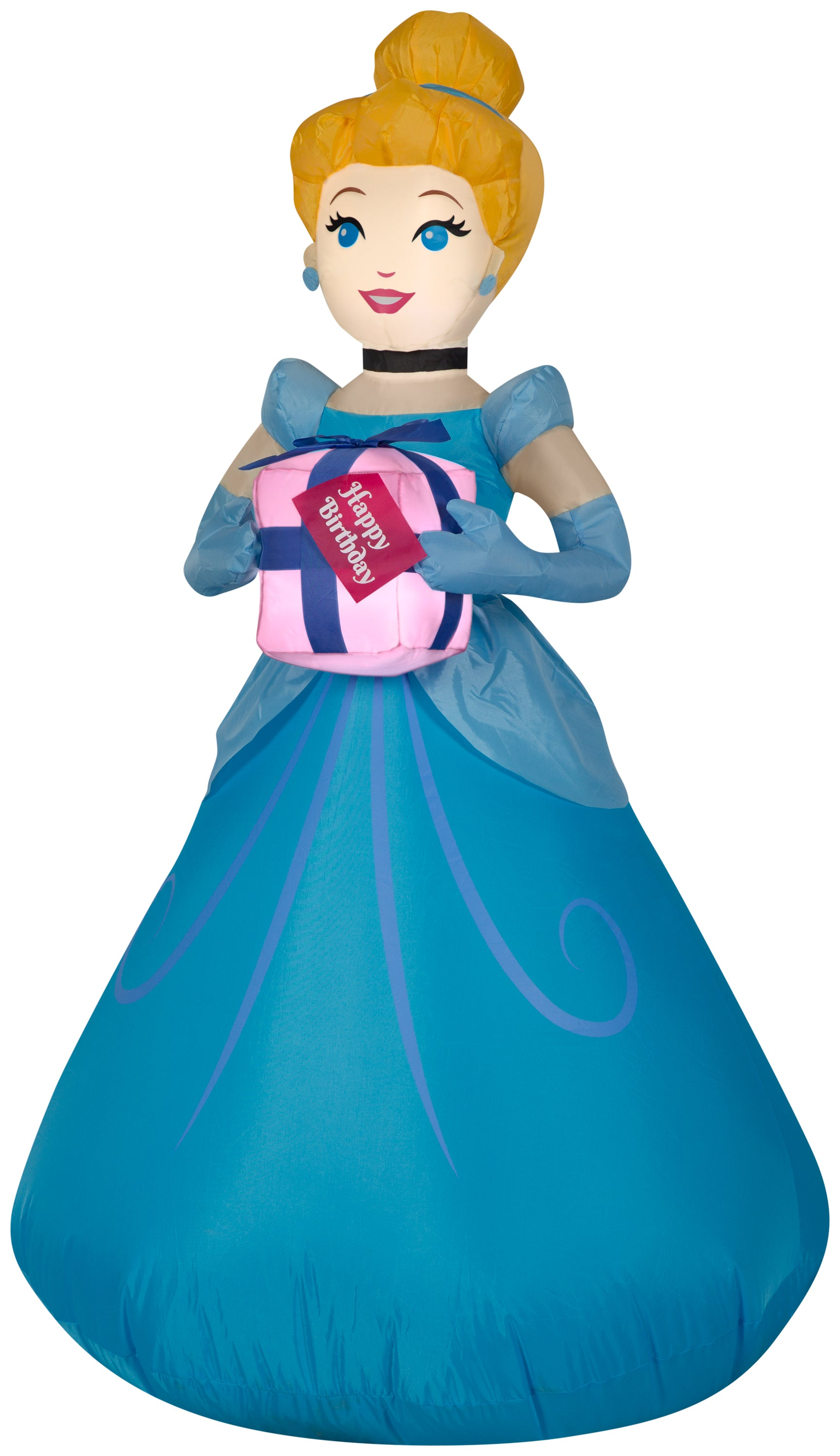 Gemmy Airblown Inflatable Birthday Party Cinderella with Present, 3.5 ft Tall, blue