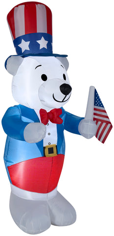 4' White Fourth of July Bear Spring Inflatable