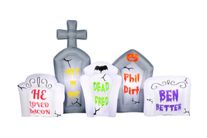 8' Airblown Flashing Lights Tombstone Scene Halloween Inflatable
