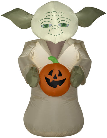 yoda with pumpkin halloween inflatable
