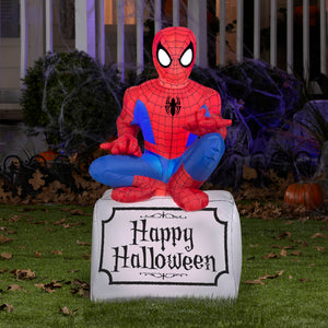 3.5' Marvel Airblown Spider Man on Tombstone Halloween Inflatable