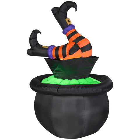 4.5' Tall Animated Airblown Witch Legs in Cauldron Halloween Inflatable