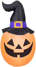 Load image into Gallery viewer, 5' Airblown Pumpkin Wearing Witch Hat Halloween Inflatable