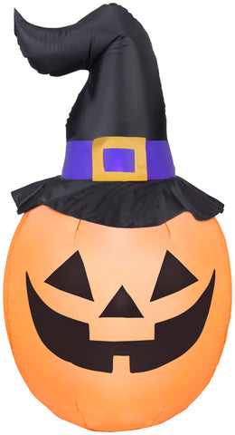 5' Airblown Pumpkin Wearing Witch Hat Halloween Inflatable