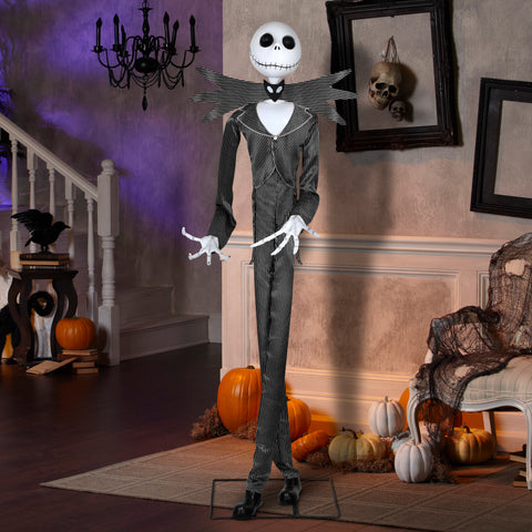 "6'4"" Tall Life Sized Animated Jack Skellington Disney Halloween Prop"