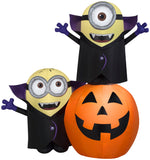 Load image into Gallery viewer, 6.5' Airblown Gone Batty Minions w/ Pumpkin Halloween Inflatable Scene