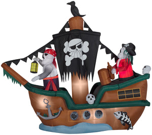 10' Animated Airblown Skeleton Pirate Ship Halloween Inflatable