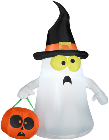 3.5' Airblown Ghost with Witch Hat Halloween Inflatable