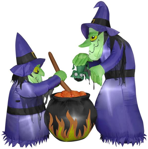 6' Airblown Double Bubble Witches w/ Cauldron Halloween Inflatable