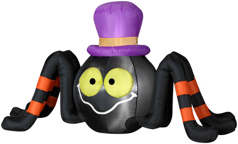 4' Wide Airblown Outdoor Spider w/ Top Hat Halloween Inflatable