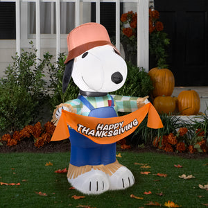 3.5' Airblown Snoopy as Scarecrow Thanksgiving Inflatable
