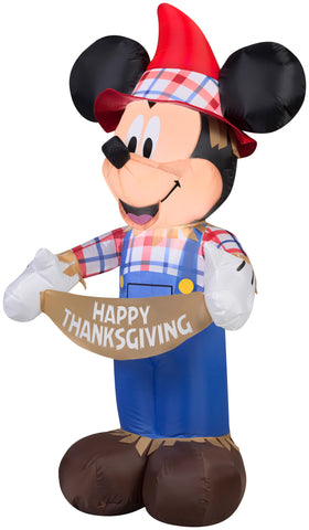 3.5' Airblown Mickey as Scarecrow Disney Thanksgiving Inflatable